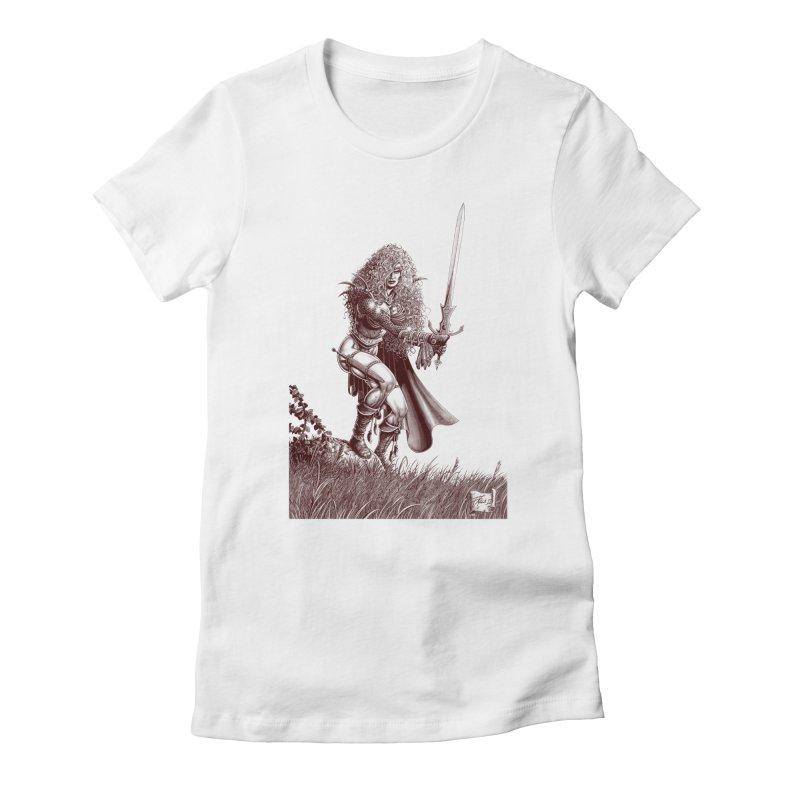 She-Warrior (brown) Women's T-Shirt by Ferran Xalabarder's Artist Shop