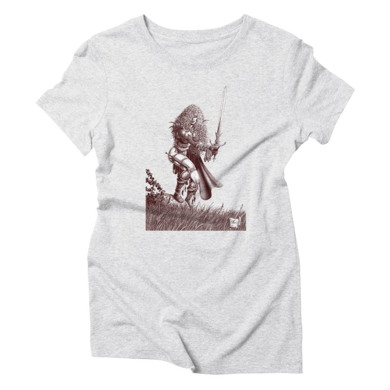 She-Warrior (brown) Women's Triblend T-Shirt by Ferran Xalabarder's Artist Shop