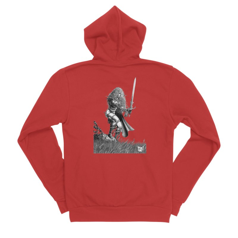 She-Warrior (gray) Men's Zip-Up Hoody by Ferran Xalabarder's Artist Shop