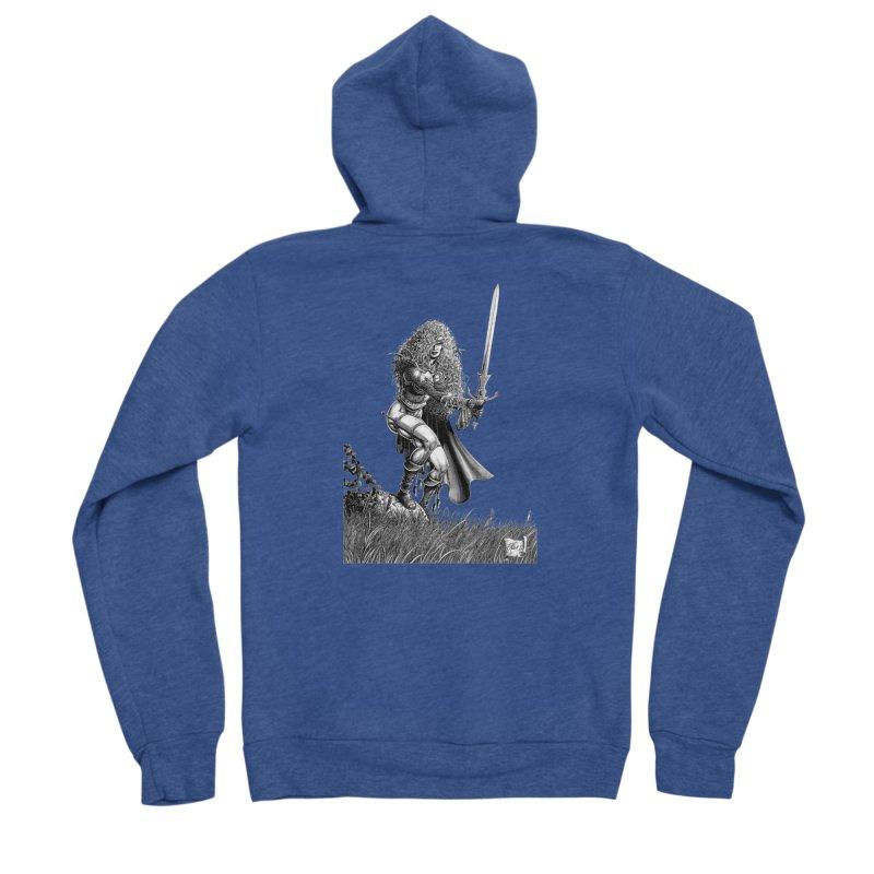 She-Warrior (gray) Men's Sponge Fleece Zip-Up Hoody by Ferran Xalabarder's Artist Shop