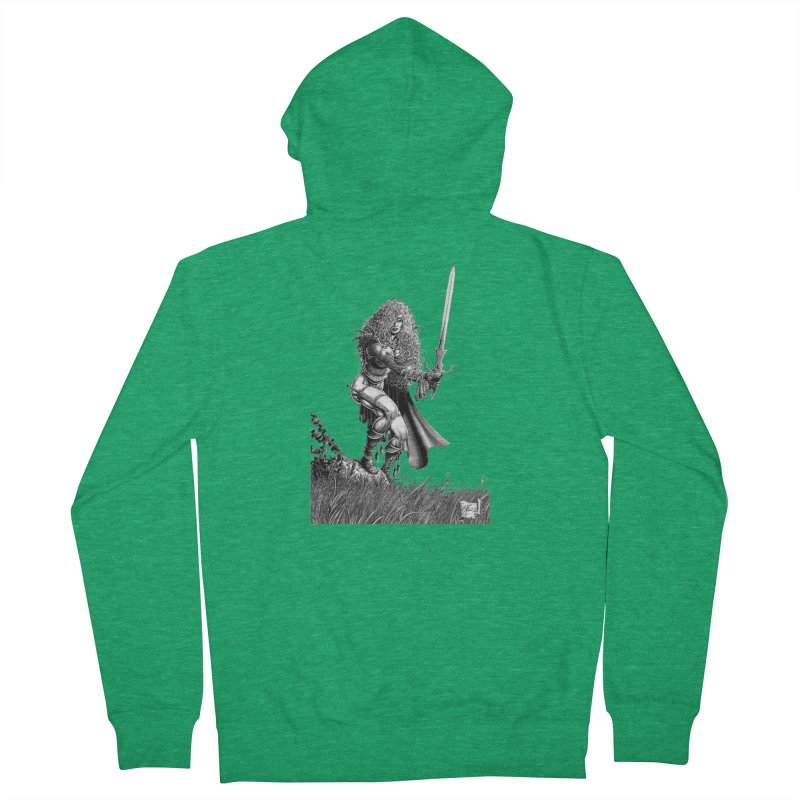 She-Warrior (gray) Women's Zip-Up Hoody by Ferran Xalabarder's Artist Shop