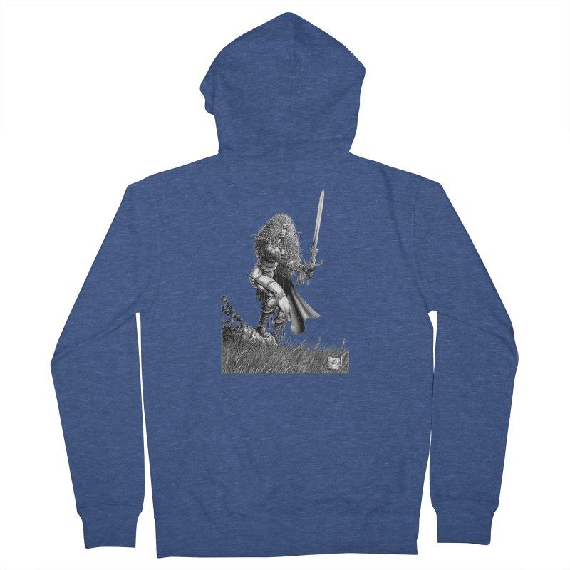 She-Warrior (gray) Men's Zip-Up Hoody by Ferran Xalabarder's Artist Shop