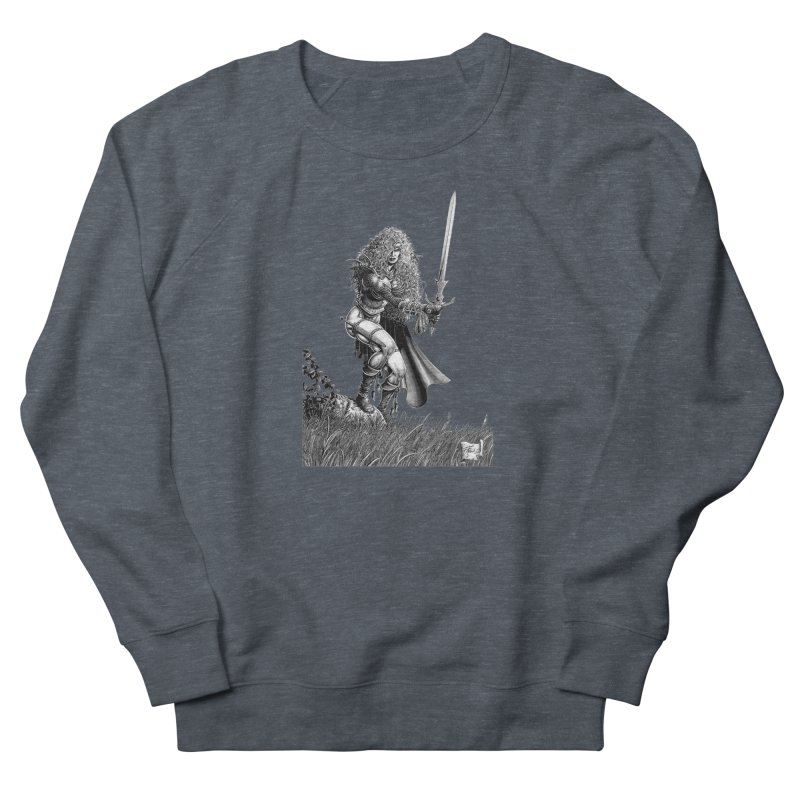 She-Warrior (gray) Women's French Terry Sweatshirt by Ferran Xalabarder's Artist Shop