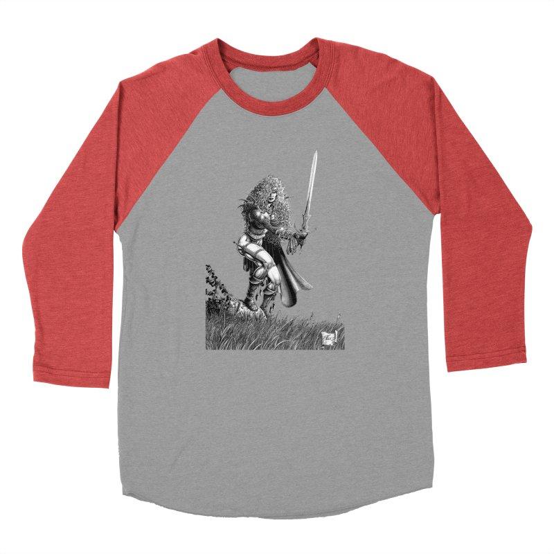 She-Warrior (gray) Men's Baseball Triblend Longsleeve T-Shirt by Ferran Xalabarder's Artist Shop