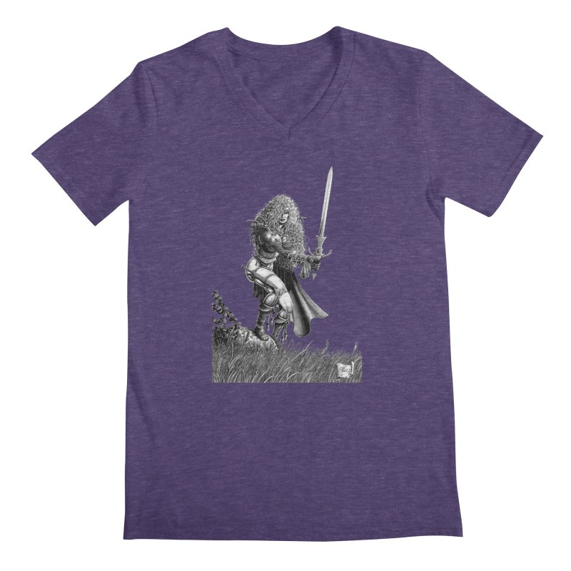She-Warrior (gray) Men's V-Neck by Ferran Xalabarder's Artist Shop