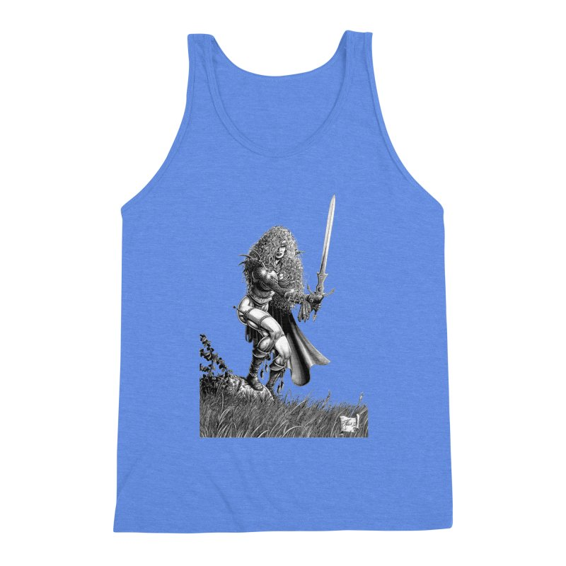 She-Warrior (gray) Men's Triblend Tank by Ferran Xalabarder's Artist Shop