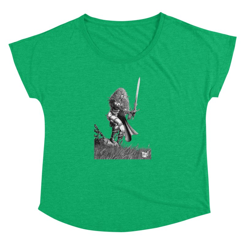 She-Warrior (gray) Women's Dolman Scoop Neck by Ferran Xalabarder's Artist Shop