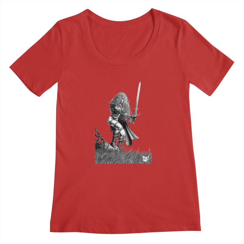 She-Warrior (gray) Women's Regular Scoop Neck by Ferran Xalabarder's Artist Shop