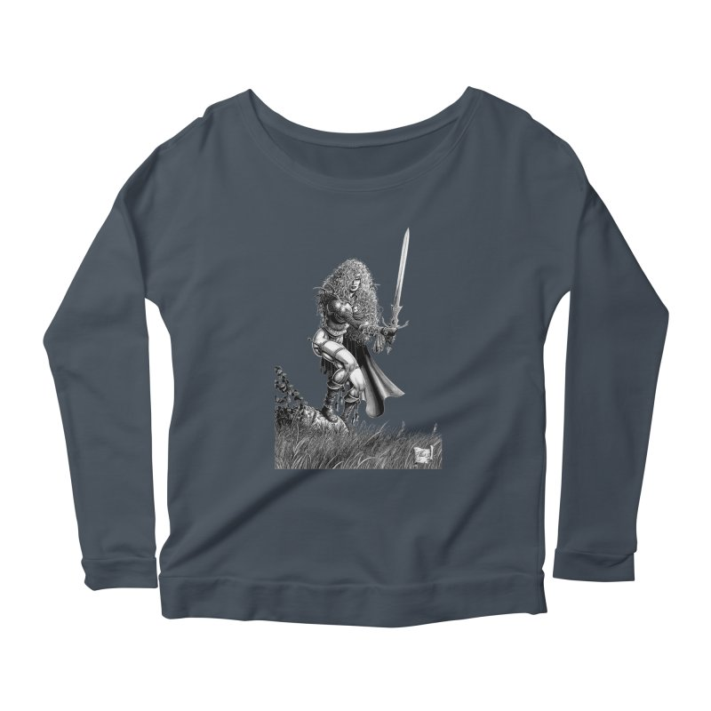 She-Warrior (gray) Women's Longsleeve T-Shirt by Ferran Xalabarder's Artist Shop