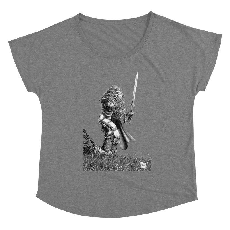 She-Warrior (gray) Women's Scoop Neck by Ferran Xalabarder's Artist Shop