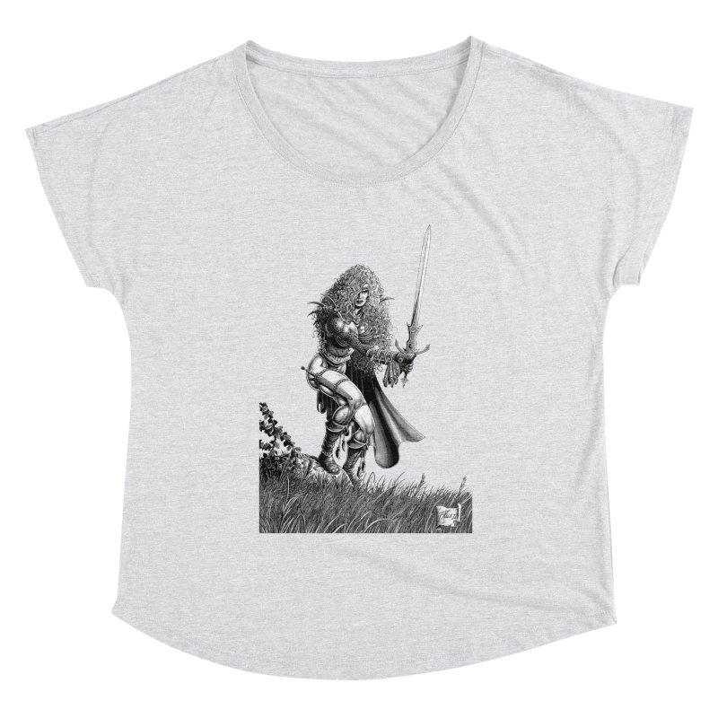 She-Warrior (gray) Women's Dolman Scoop Neck by Ferran Xalabarder's Artist Shop