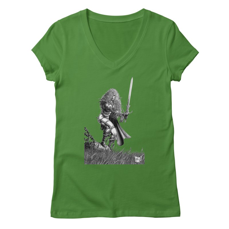 She-Warrior (gray) Women's V-Neck by Ferran Xalabarder's Artist Shop