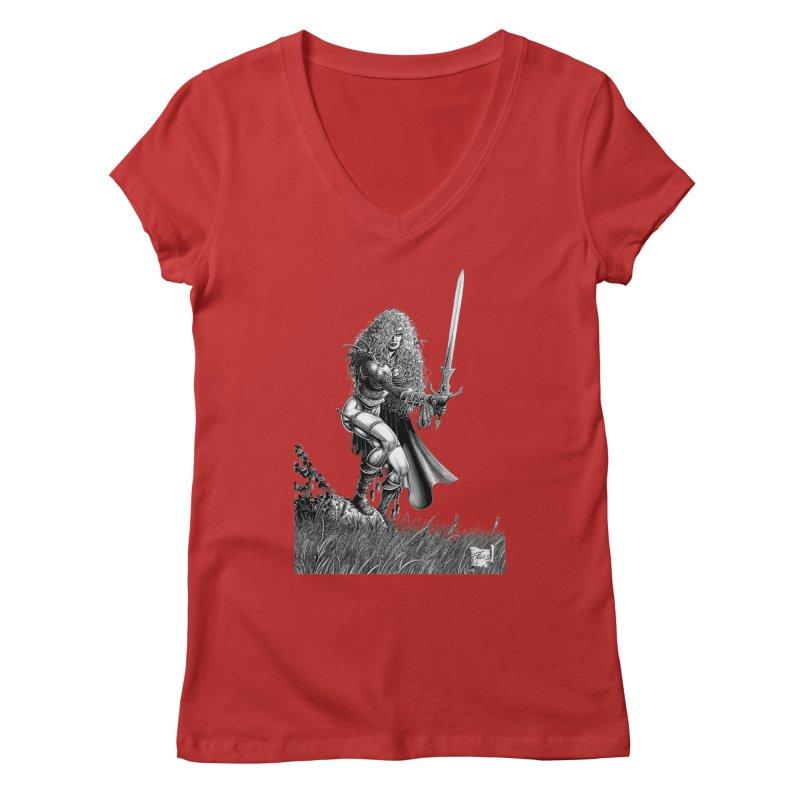 She-Warrior (gray) Women's V-Neck by Ferran Xalabarder's Artist Shop