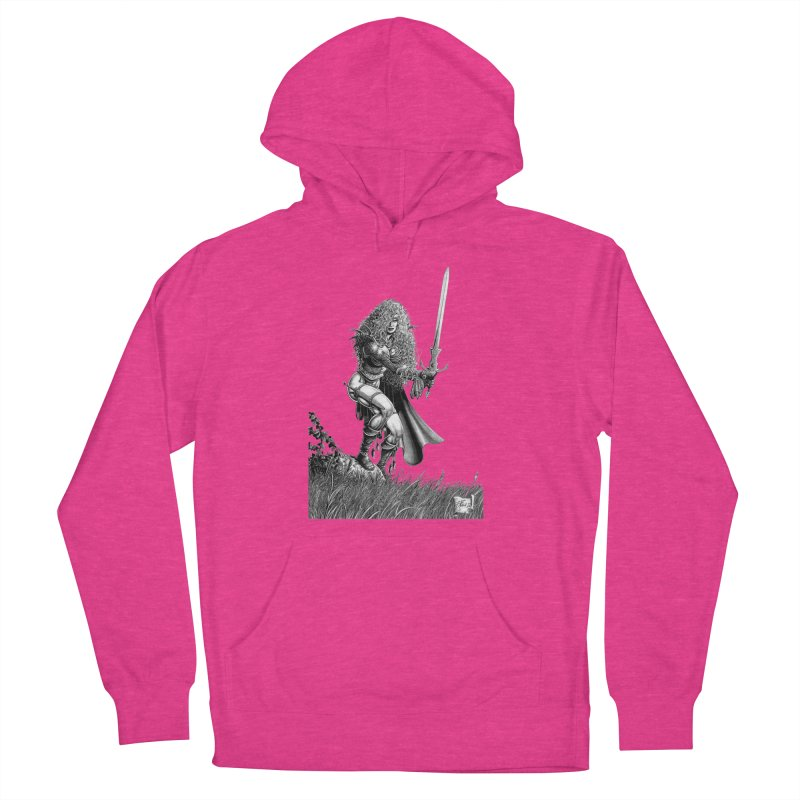 She-Warrior (gray) Men's French Terry Pullover Hoody by Ferran Xalabarder's Artist Shop