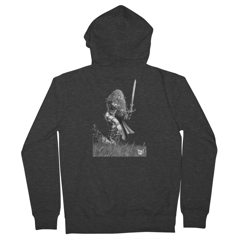 She-Warrior (gray) Men's French Terry Zip-Up Hoody by Ferran Xalabarder's Artist Shop