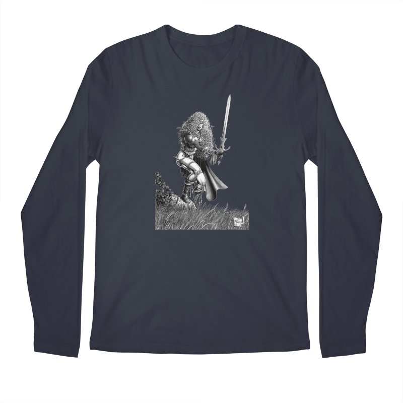 She-Warrior (gray) Men's Regular Longsleeve T-Shirt by Ferran Xalabarder's Artist Shop