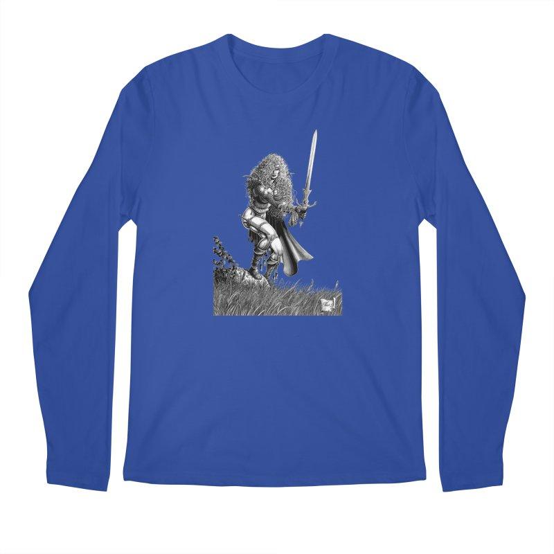 She-Warrior (gray) Men's Regular Longsleeve T-Shirt by Ferran Xalabarder's Artist Shop