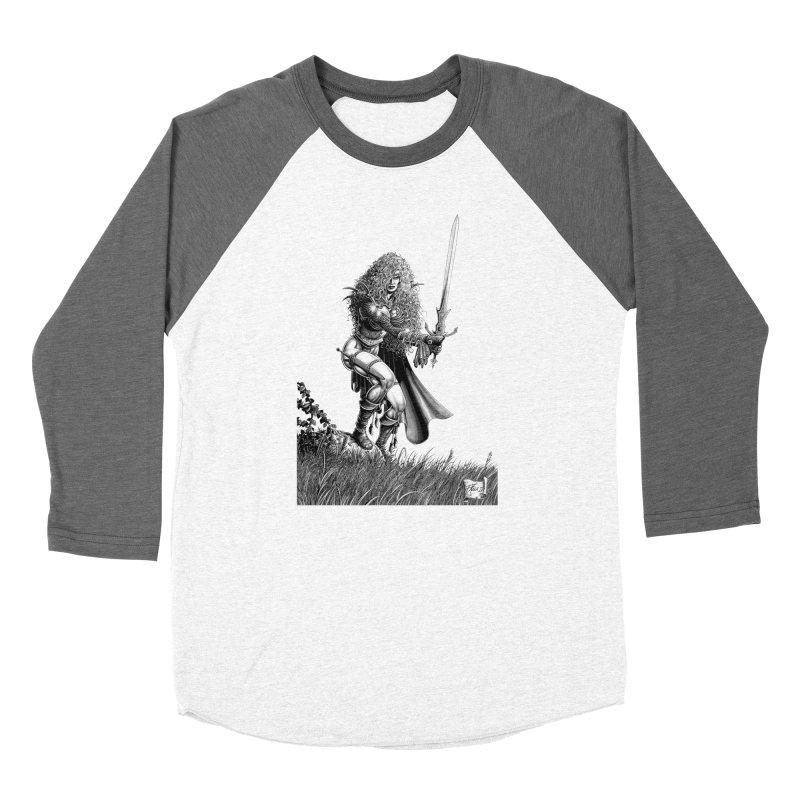 She-Warrior (gray) Men's Baseball Triblend T-Shirt by Ferran Xalabarder's Artist Shop