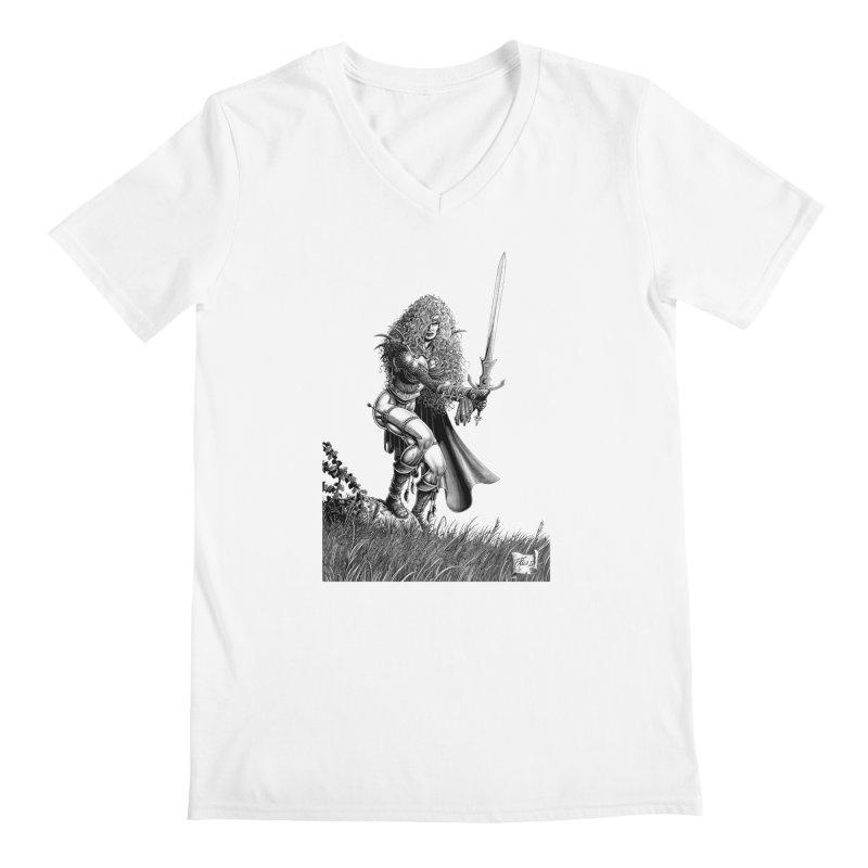She-Warrior (gray) Men's Regular V-Neck by Ferran Xalabarder's Artist Shop