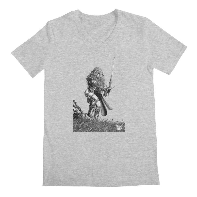 She-Warrior (gray) Men's Regular V-Neck by Ferran Xalabarder's Artist Shop
