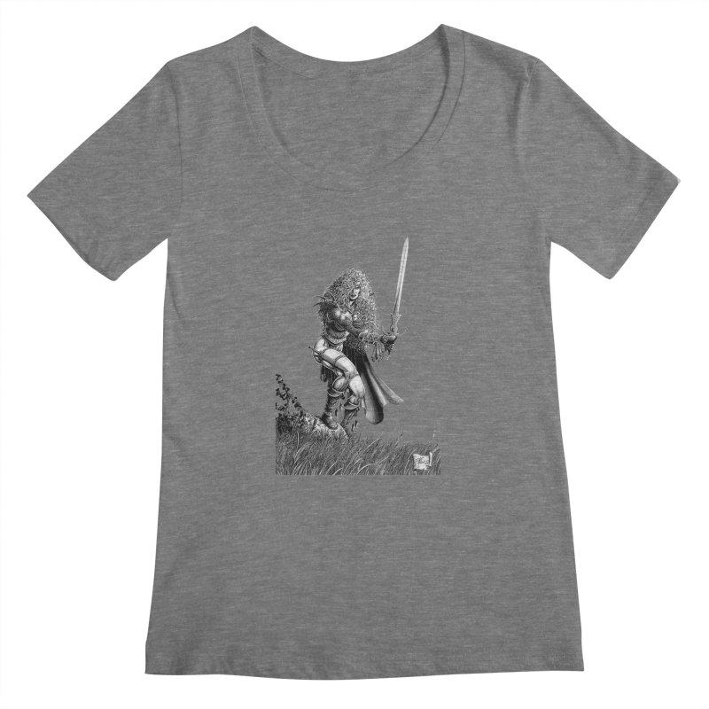 She-Warrior (gray) Women's Scoopneck by Ferran Xalabarder's Artist Shop