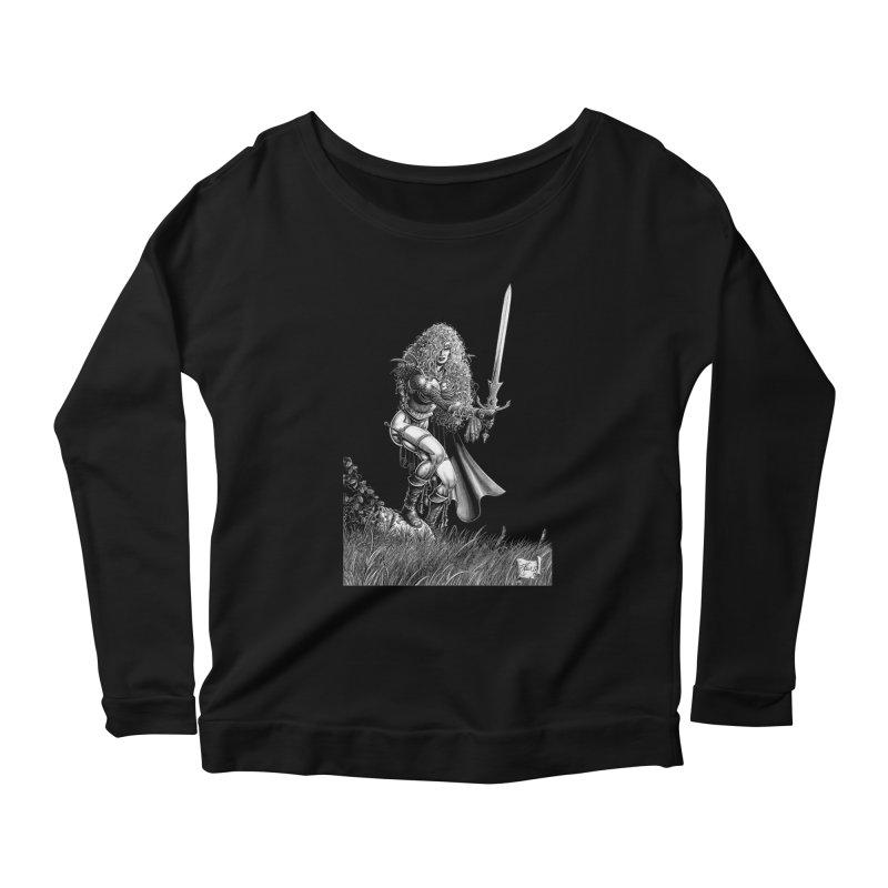 She-Warrior (gray) Women's Scoop Neck Longsleeve T-Shirt by Ferran Xalabarder's Artist Shop