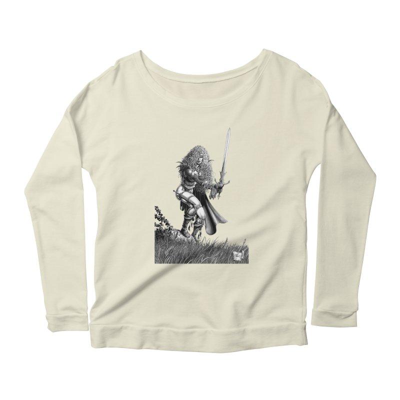 She-Warrior (gray) Women's Longsleeve Scoopneck  by Ferran Xalabarder's Artist Shop