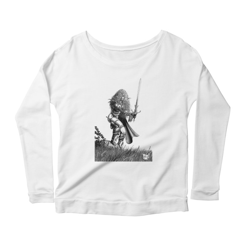 She-Warrior (gray) Women's Scoop Neck Longsleeve T-Shirt by Ferran Xalabarder's Artist Shop