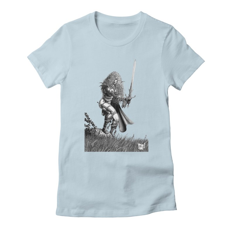 She-Warrior (gray) Women's Fitted T-Shirt by Ferran Xalabarder's Artist Shop