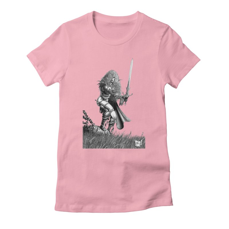 She-Warrior (gray) Women's Fitted T-Shirt by Ferran Xalabarder's Artist Shop