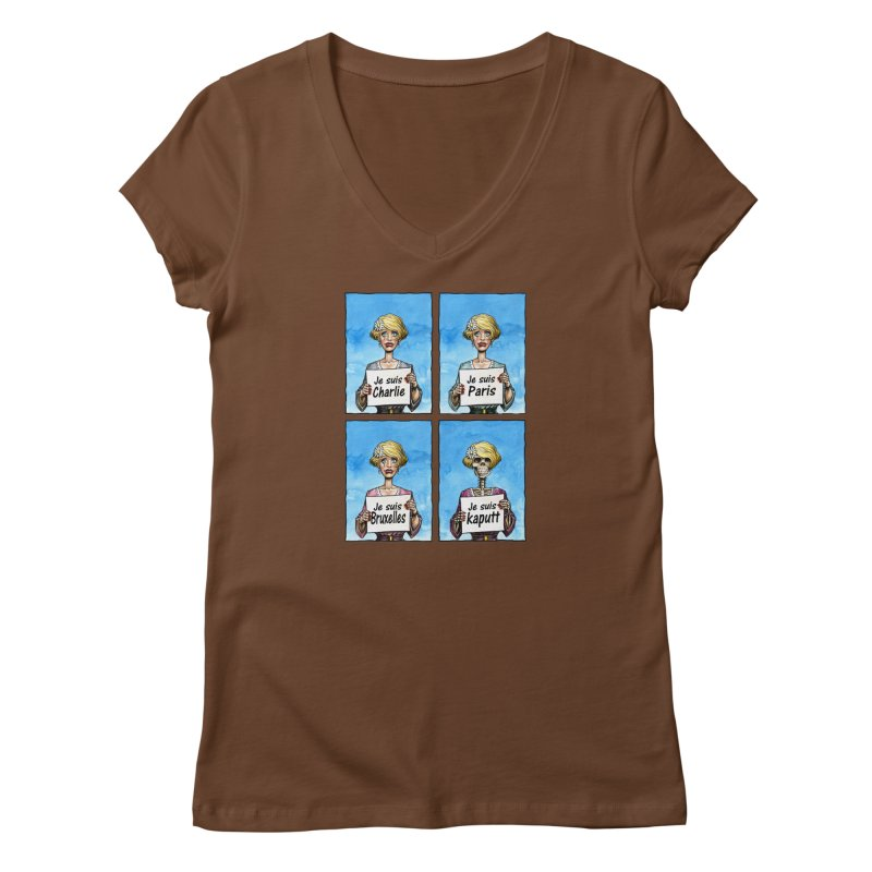 """Je Suis"" Natural Evolution Women's V-Neck by Ferran Xalabarder's Artist Shop"
