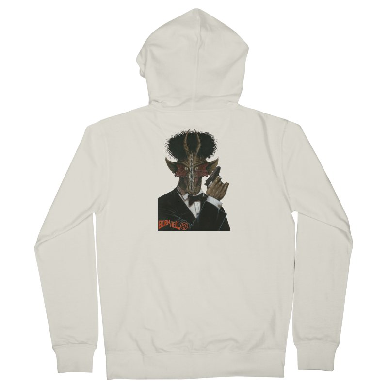 Born in Hell Men's French Terry Zip-Up Hoody by Ferran Xalabarder's Artist Shop