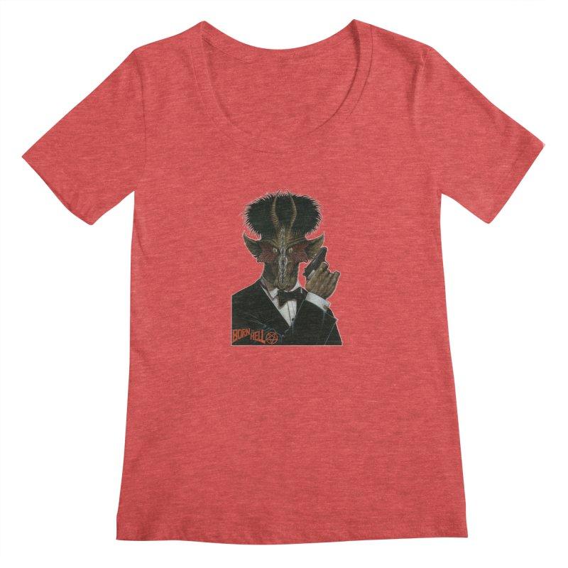 Born in Hell Women's Scoopneck by Ferran Xalabarder's Artist Shop