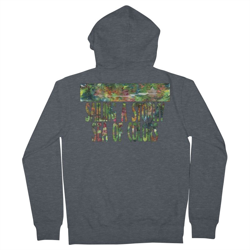 Sailing a Stormy Sea of Colors Men's French Terry Zip-Up Hoody by Ferran Xalabarder's Artist Shop