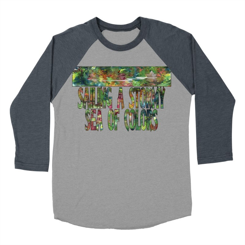 Sailing a Stormy Sea of Colors Women's Baseball Triblend Longsleeve T-Shirt by Ferran Xalabarder's Artist Shop