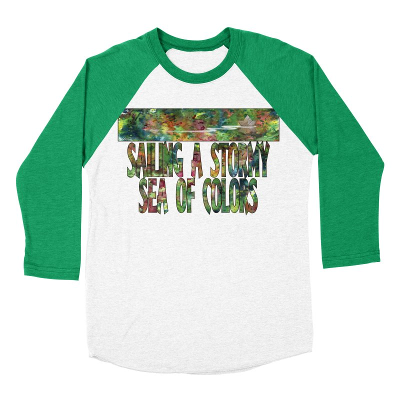 Sailing a Stormy Sea of Colors Men's Baseball Triblend Longsleeve T-Shirt by Ferran Xalabarder's Artist Shop