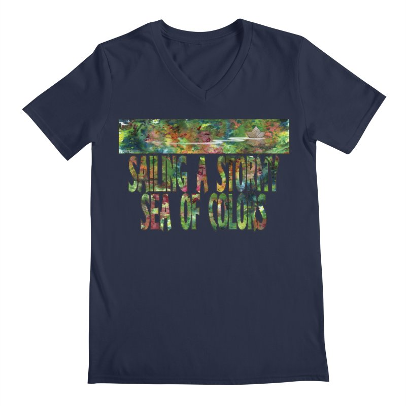 Sailing a Stormy Sea of Colors Men's Regular V-Neck by Ferran Xalabarder's Artist Shop