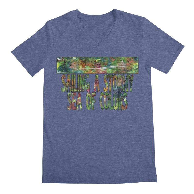 Sailing a Stormy Sea of Colors Men's V-Neck by Ferran Xalabarder's Artist Shop