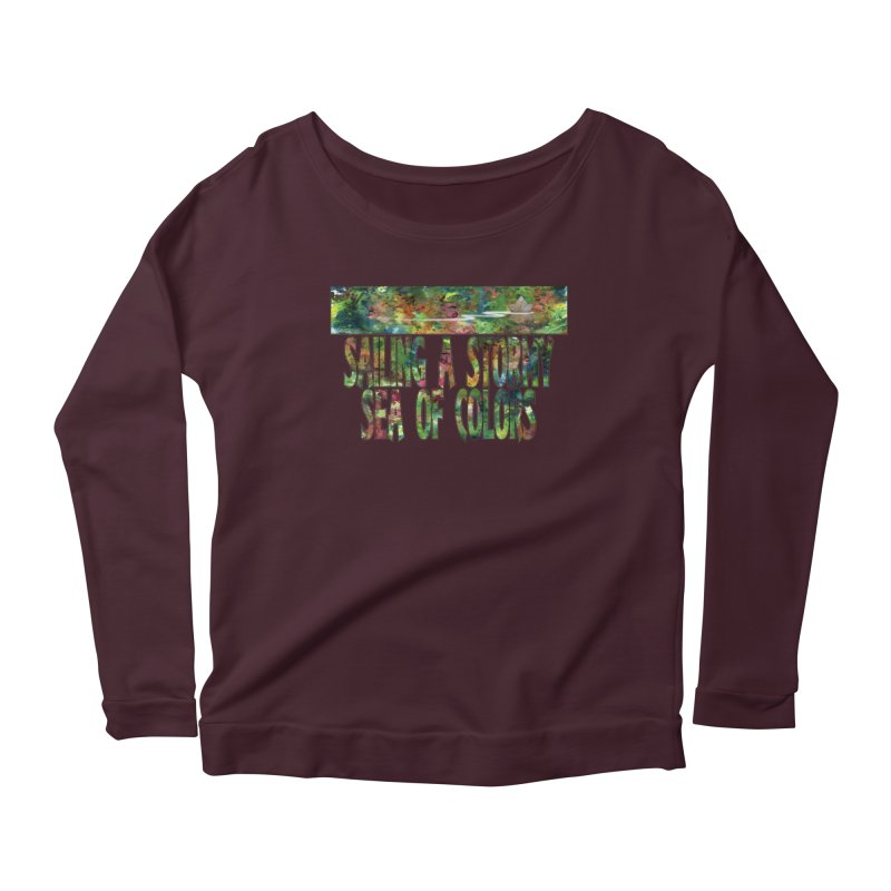 Sailing a Stormy Sea of Colors Women's Scoop Neck Longsleeve T-Shirt by Ferran Xalabarder's Artist Shop