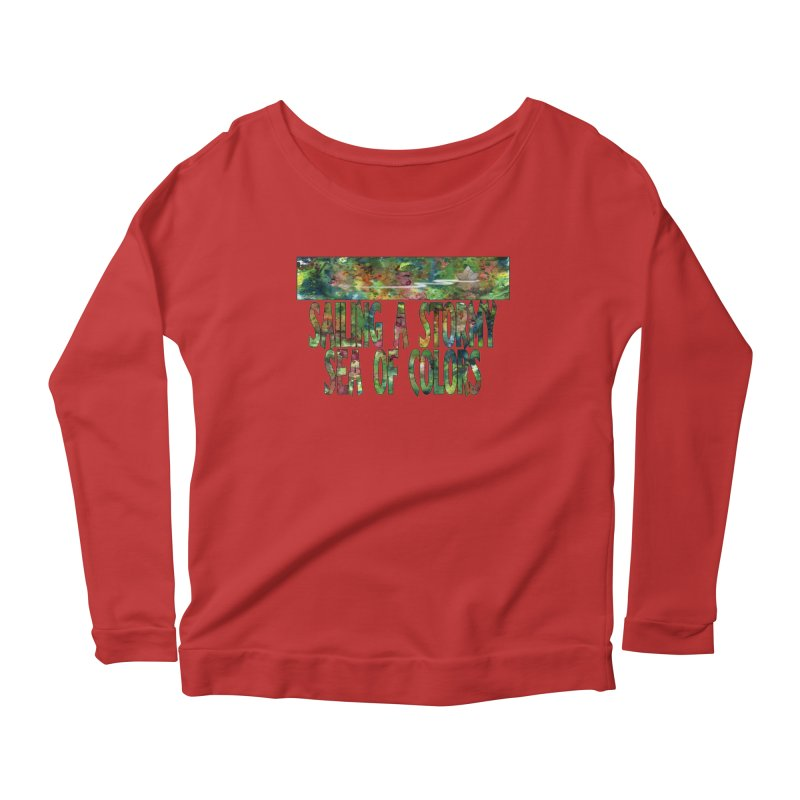 Sailing a Stormy Sea of Colors Women's Scoop Neck Longsleeve T-Shirt by Ferran Xalabarder's Artist Shop