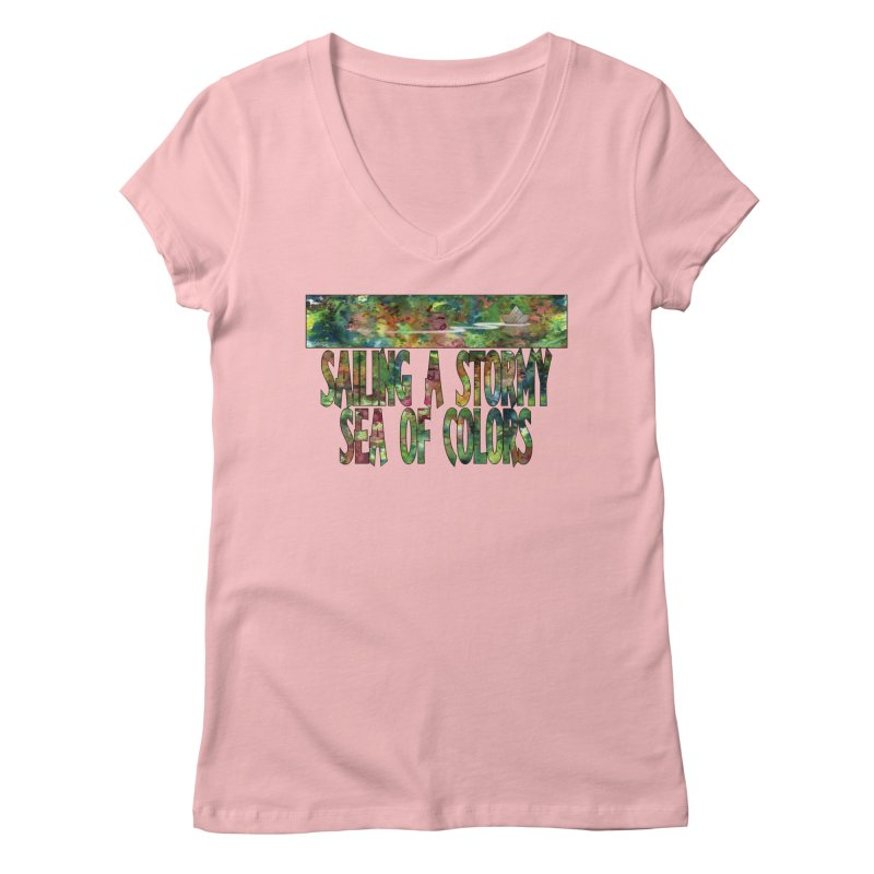 Sailing a Stormy Sea of Colors Women's Regular V-Neck by Ferran Xalabarder's Artist Shop