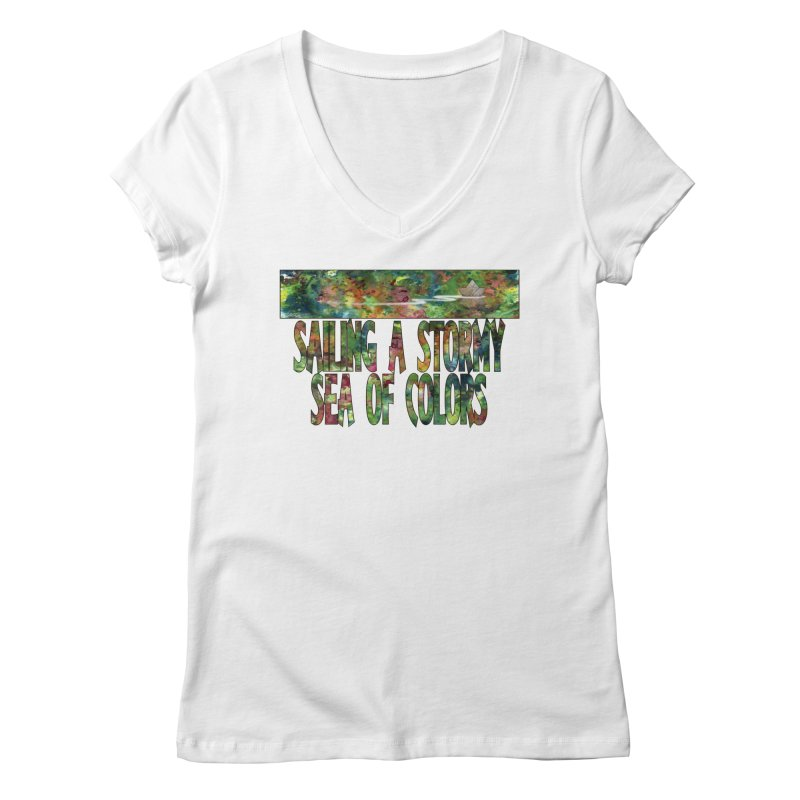 Sailing a Stormy Sea of Colors Women's V-Neck by Ferran Xalabarder's Artist Shop
