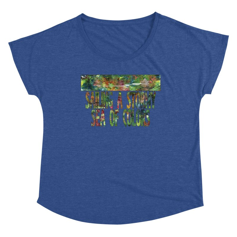 Sailing a Stormy Sea of Colors Women's Scoop Neck by Ferran Xalabarder's Artist Shop