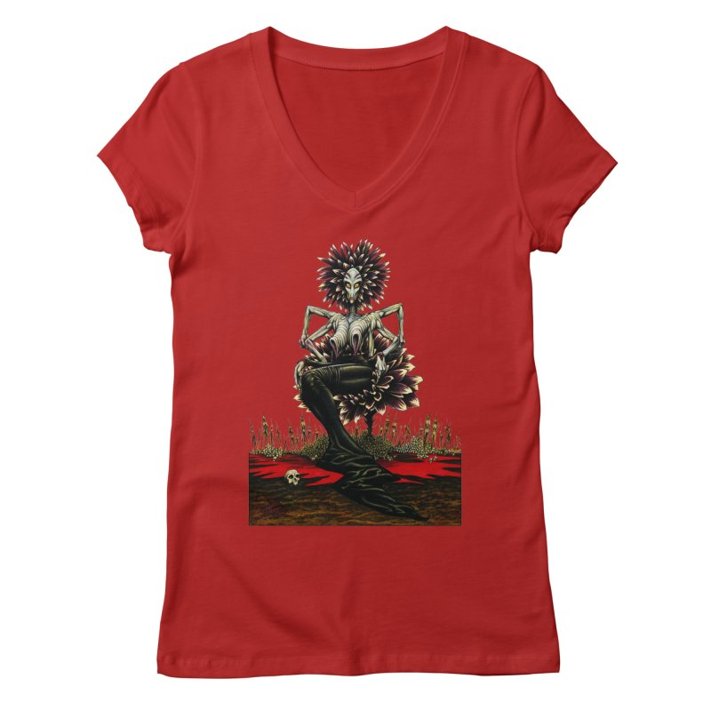 The Pain Sucker Goddess (silhouette) Women's V-Neck by Ferran Xalabarder's Artist Shop