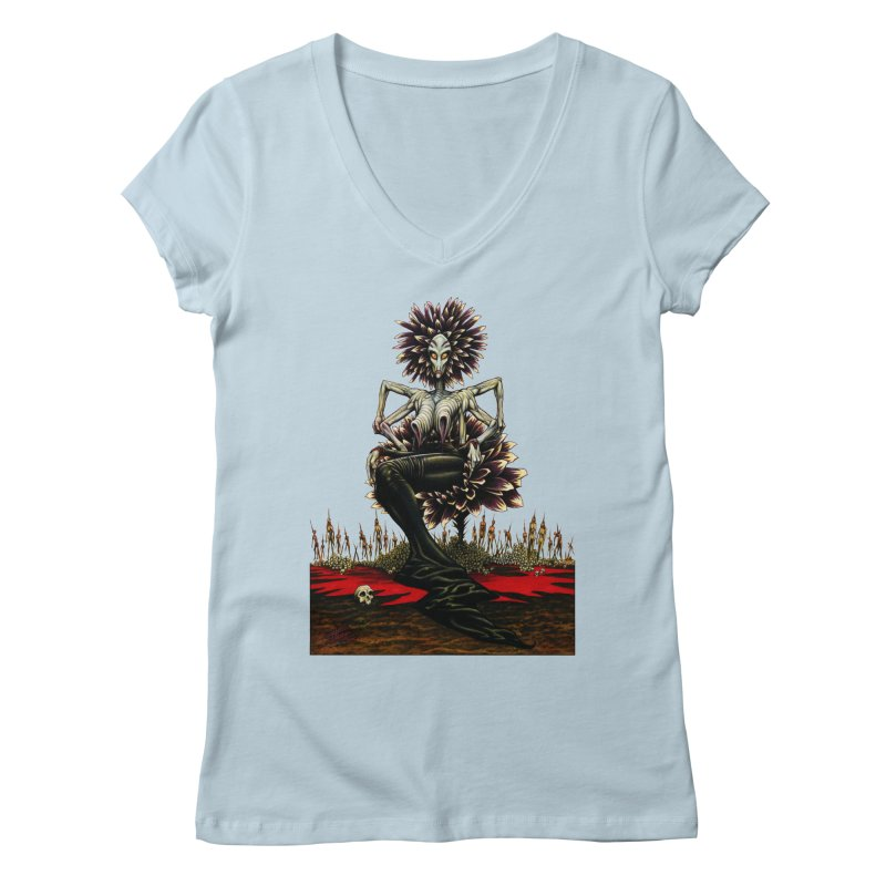 The Pain Sucker Goddess (silhouette) Women's Regular V-Neck by Ferran Xalabarder's Artist Shop