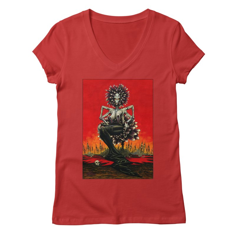The Pain Sucker Goddess Women's Regular V-Neck by Ferran Xalabarder's Artist Shop