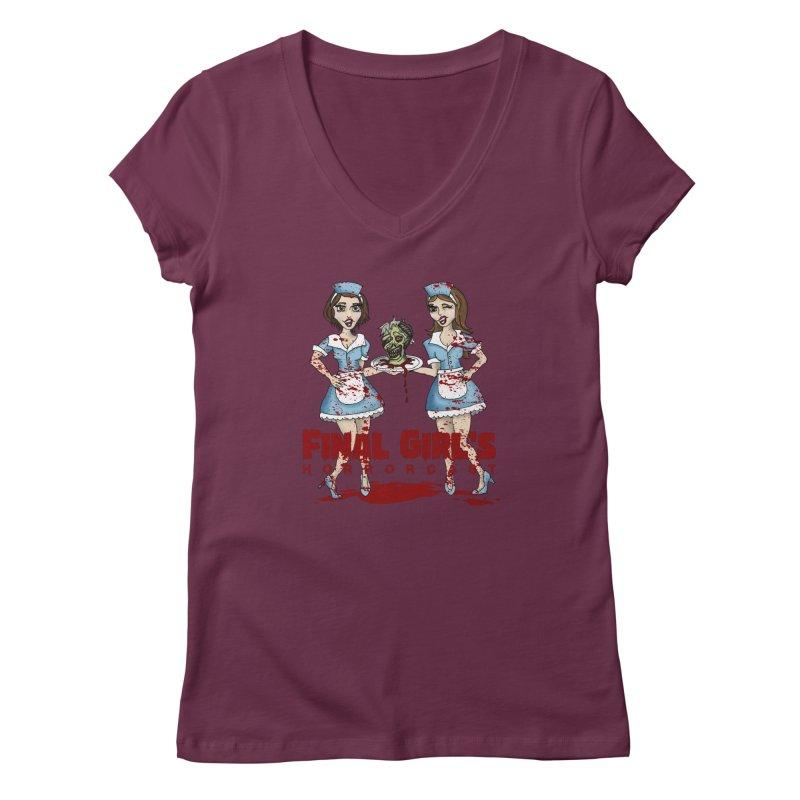 Final Girls Diner Women's Regular V-Neck by Final Girls Horrorcast's Artist Shop