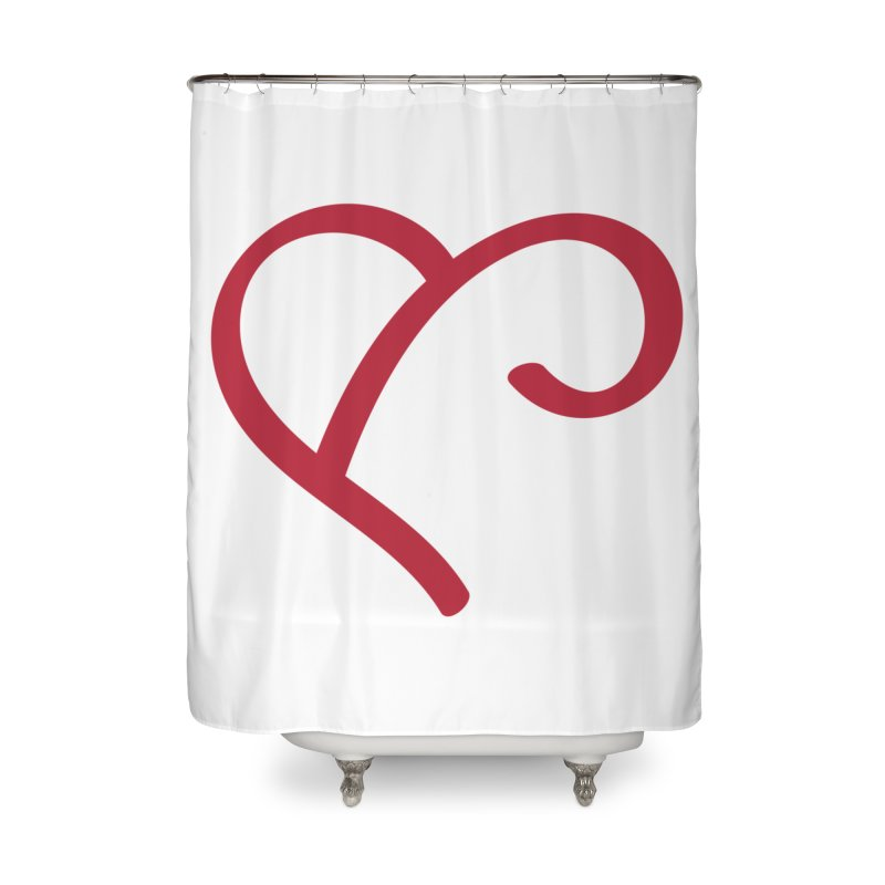 Basic Red Ampersand Home Shower Curtain by Official Merch of the Fitness Protection Program