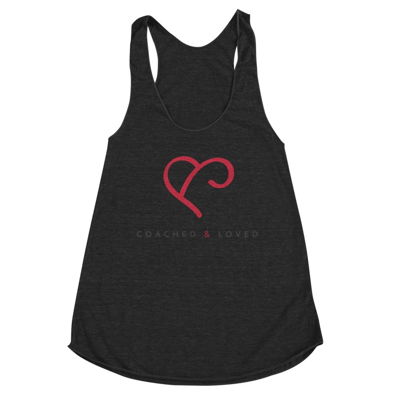 Red Logo Words Women's Racerback Triblend Tank by Official Merch of the Fitness Protection Program