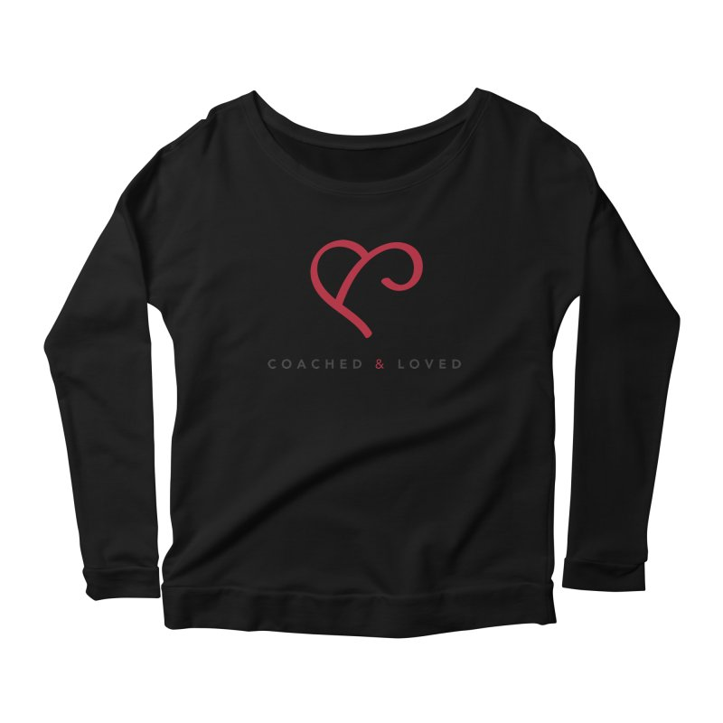 Red Logo Words Women's Scoop Neck Longsleeve T-Shirt by Official Merch of the Fitness Protection Program